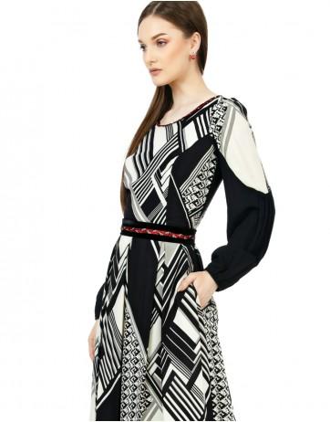 Rochie imprimata cu pliseuri si bordura catifea