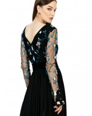 Rochie lunga tulle brodat si voal